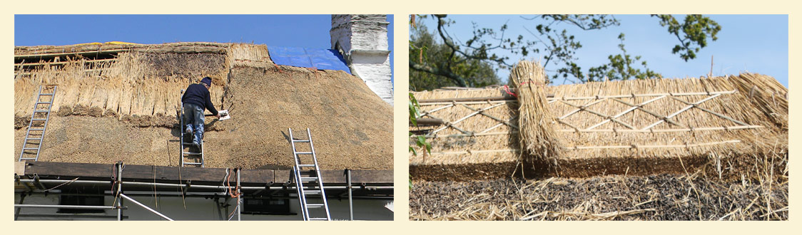 Thatched roof repairs on Devon Cottages